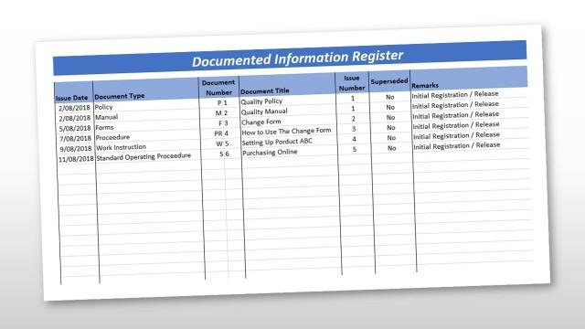 Document Control Register Template