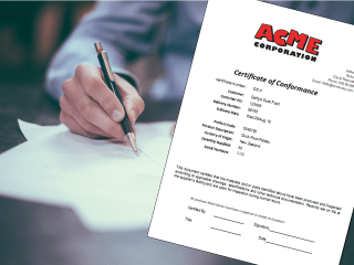 Certificate of Conformance Register and Template